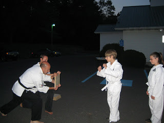 Family:  Michael and his Yellow Belt Karate Test
