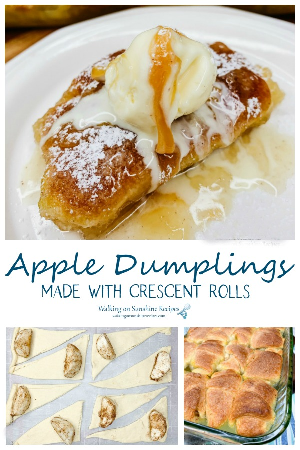 Apple dumplings made with crescent rolls and soda.