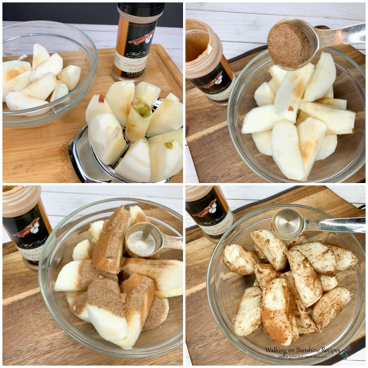 Sliced apples in bowl with cinnamon and sugar mixture for Apple Dumplings