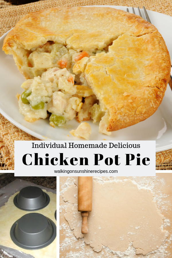 Individual chicken pot pie with homemade pie crust.
