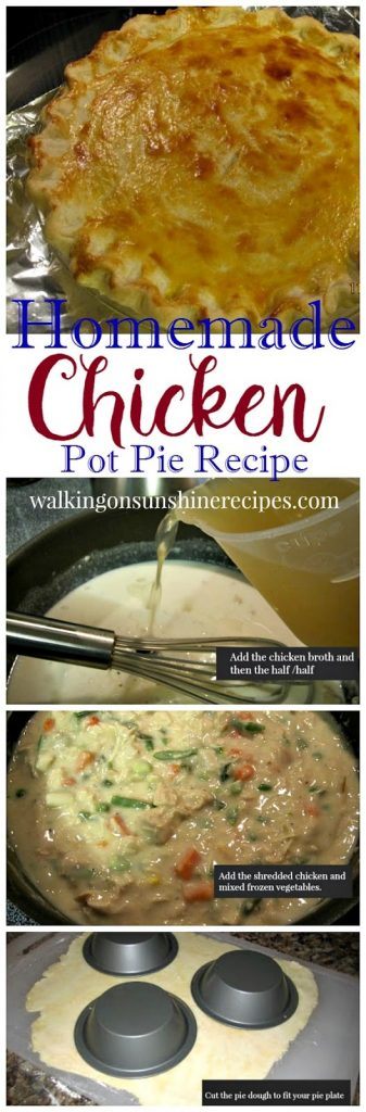 Homemade Chicken Pot Pie Recipe from Walking on Sunshine Recipes