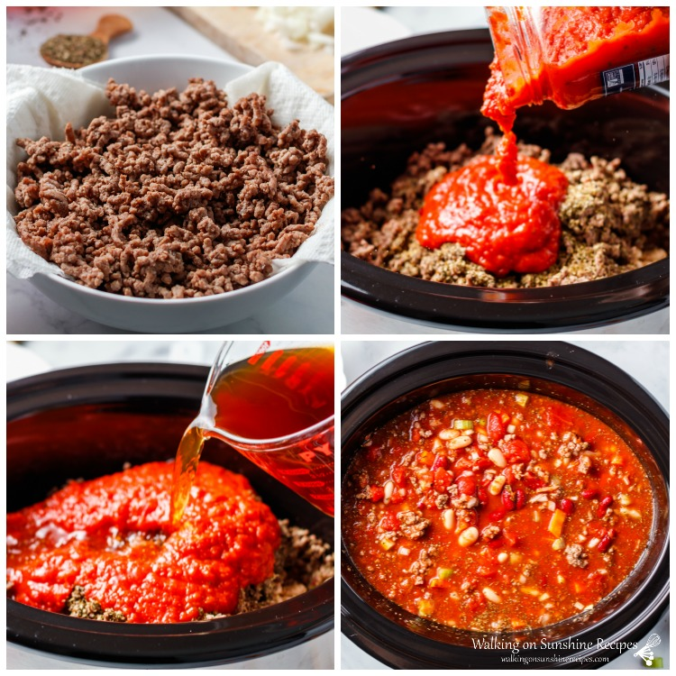 Add browned ground beef and ingredients to crock pot