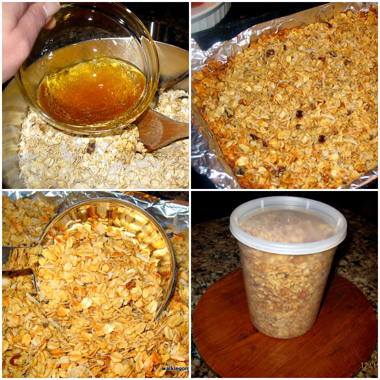Homemade Granola process photos.
