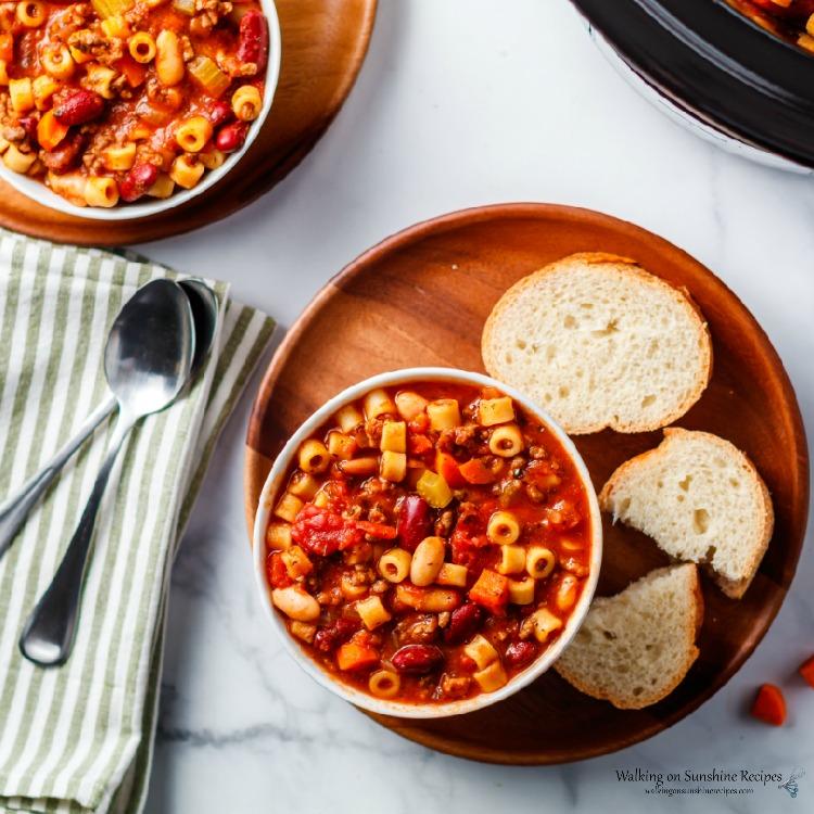 Homemade Pasta Fagioli Soup with Italian bread for dinner.