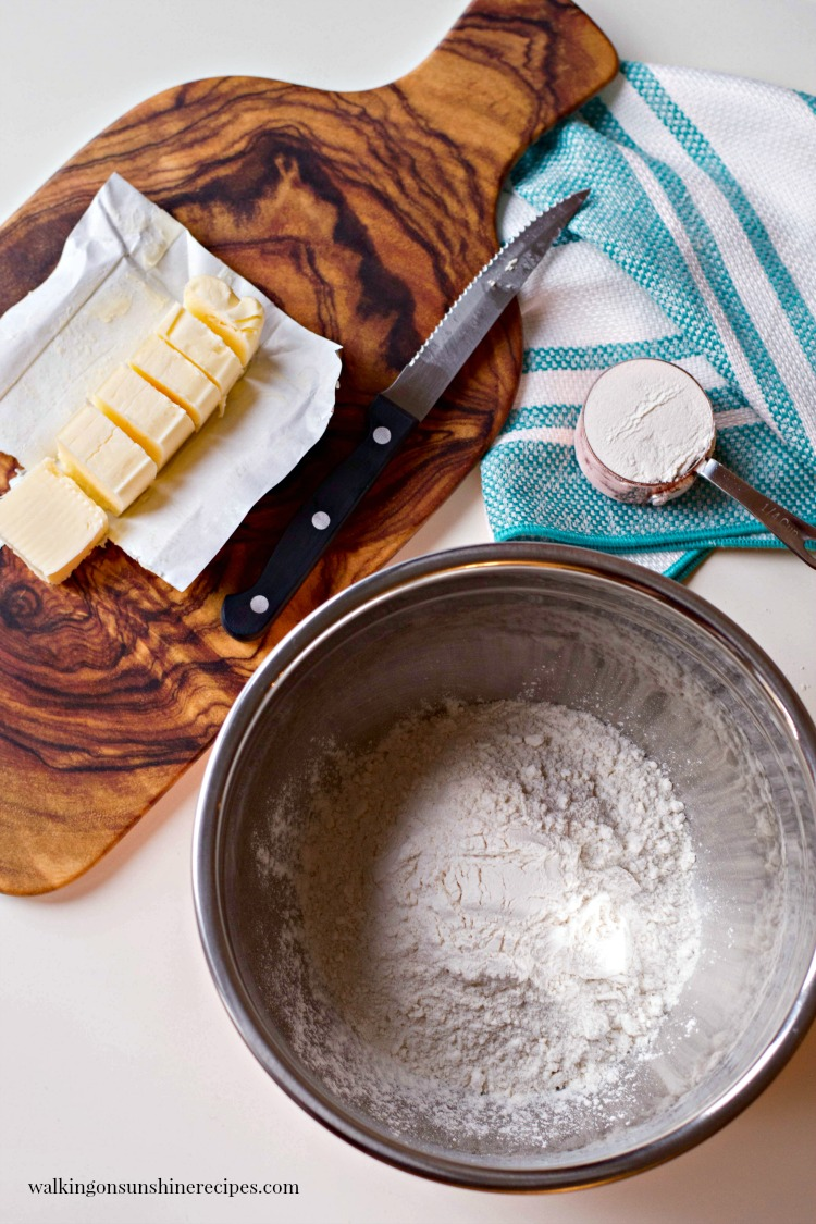 Ingredients for Homemade Biscuits with cutting board and bowl from Walking on Sunshine Recipes