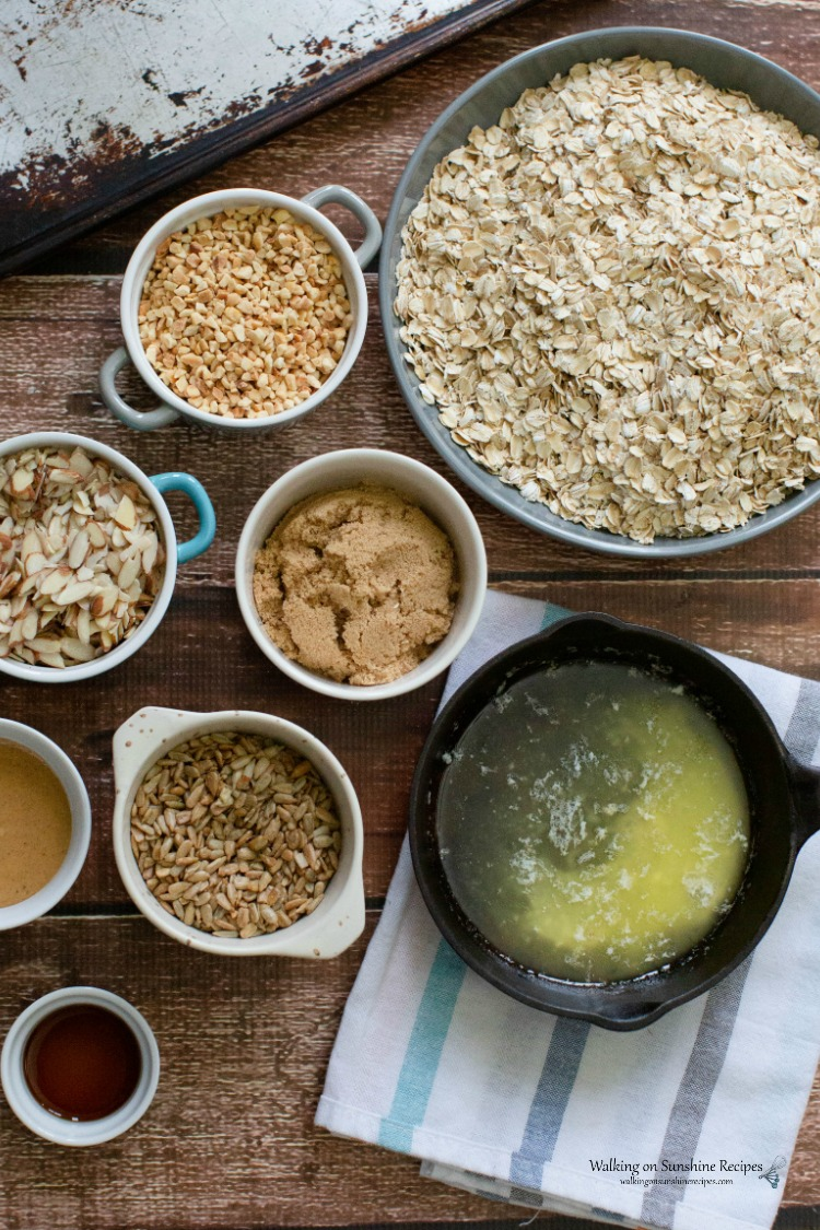 Ingredients for Homemade Granola with Peanut Butter