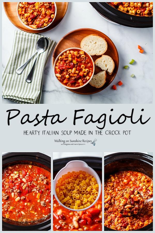 Hearty Italian Soup made in the crock pot Pasta Fagioli