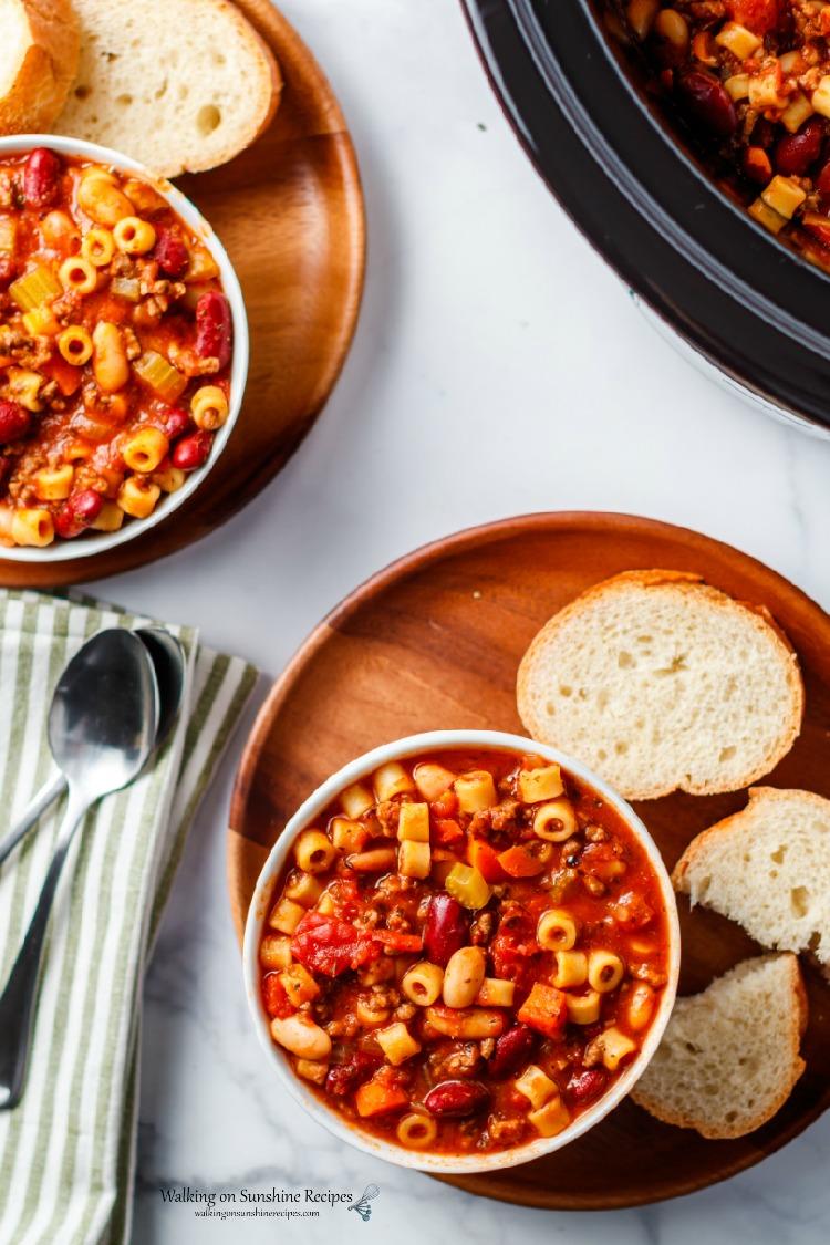 Pasta Fagioli Soup in bowls with Italian bread
