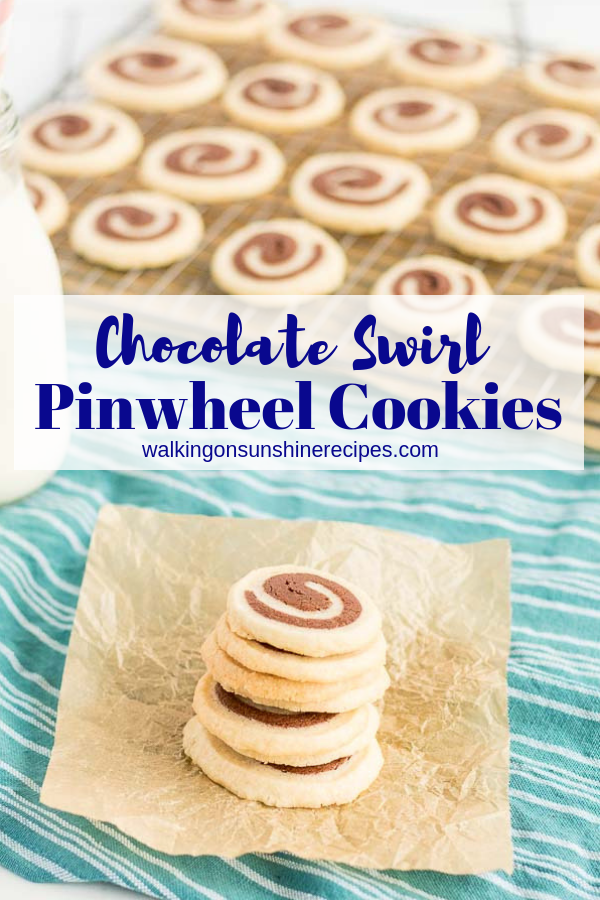 Vanilla and Chocolate Swirl Cookies on baking rack and stacked on parchment paper.