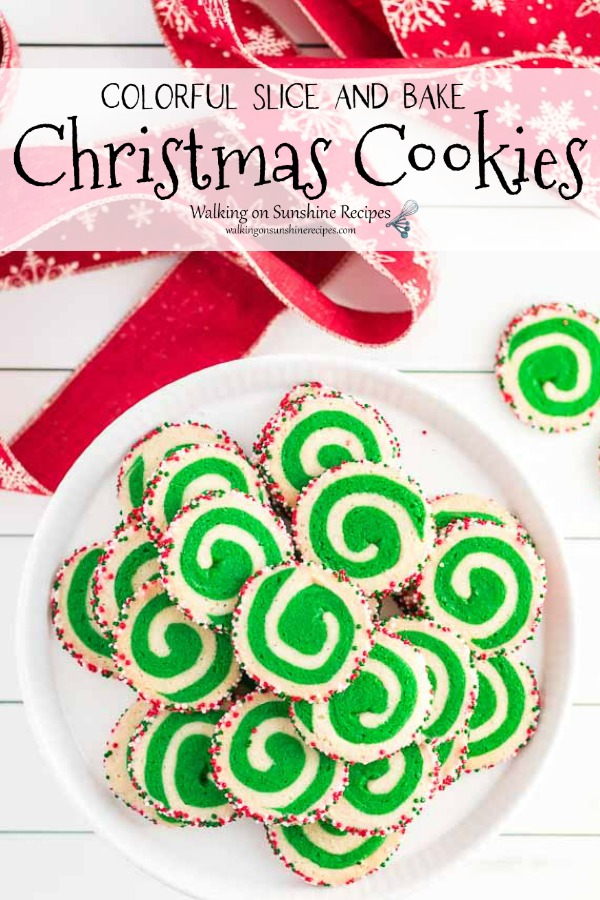 Colorful Swirl Slice and Bake Christmas Cookies on plate