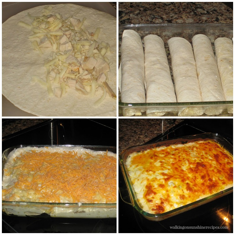 Creamy Chicken Enchiladas in baking dish