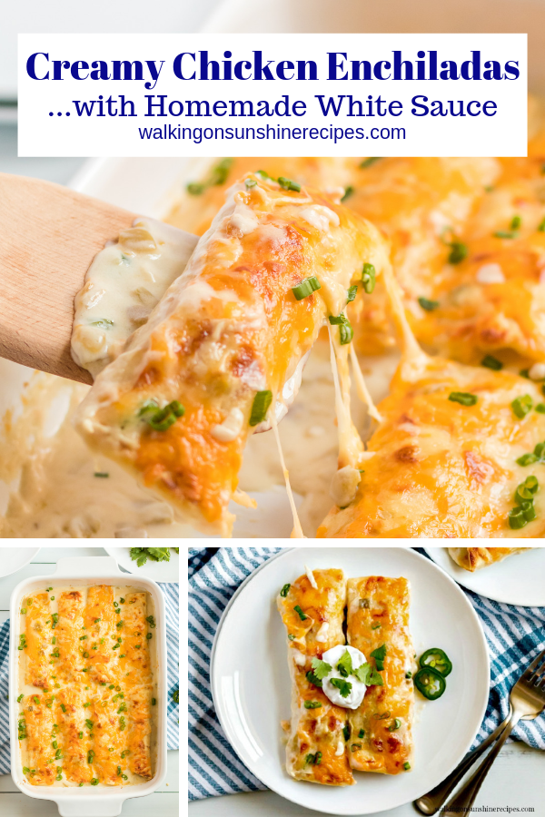 Creamy Chicken Enchiladas with homemade white sauce.