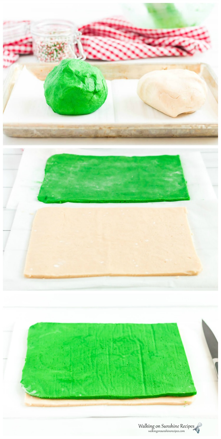 Green and Vanilla Dough Sheets for Slice and Bake Christmas Cookies