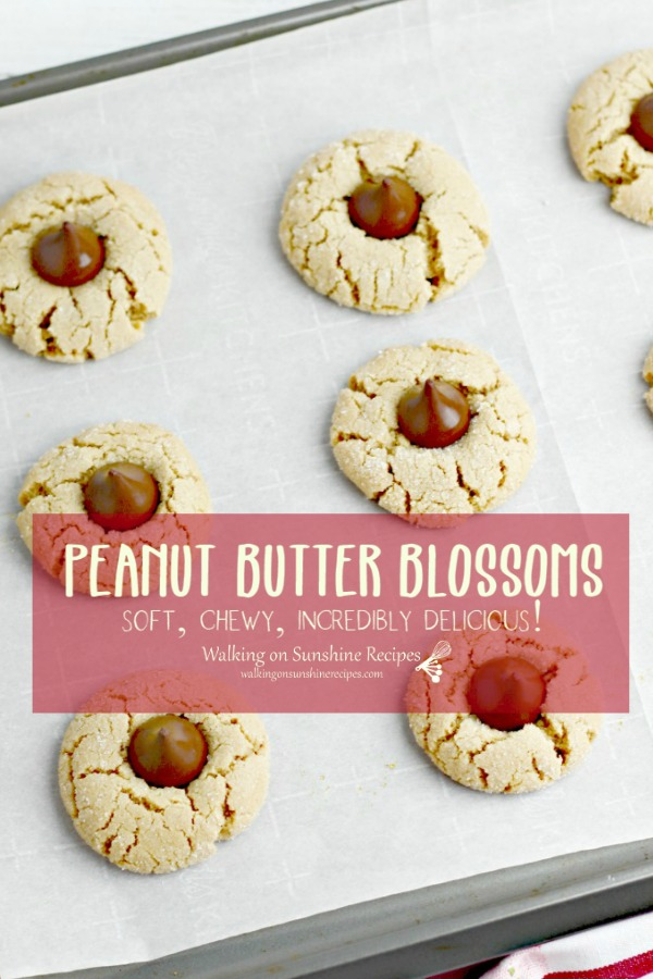 Peanut Butter Blossoms cookies on baking tray.