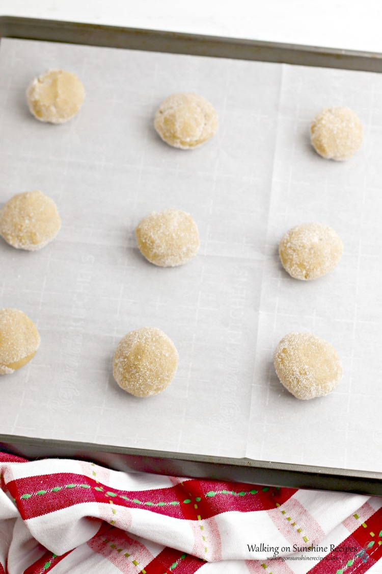 Peanut Butter Dough Balls on Baking Tray with Parchment Paper