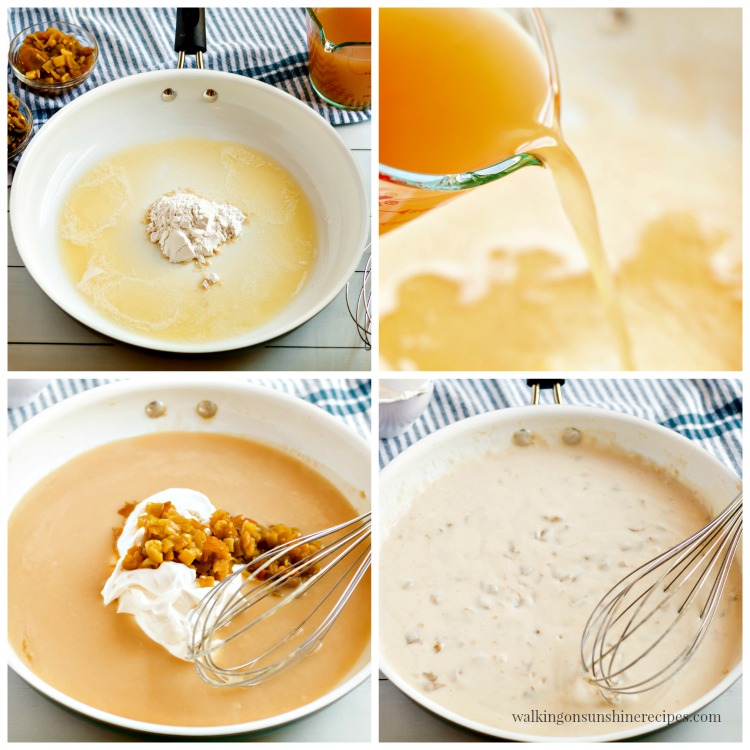 Process photos making the cream sauce for Creamy Chicken Enchiladas from Walking on Sunshine Recipes