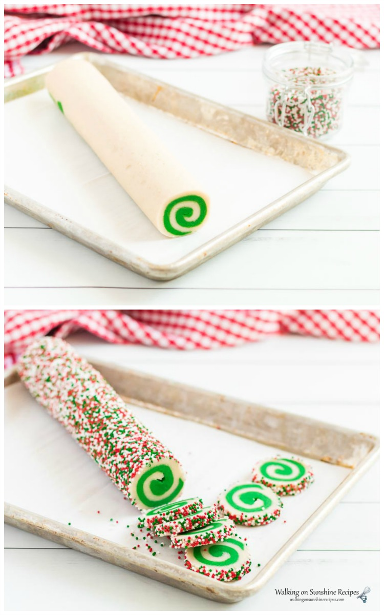 Roll the spiral cookie log into colored sprinkles and then slice.