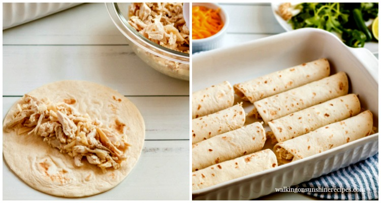 Spread chicken and cheese in flour tortillas from Walking on Sunshine Recipes.