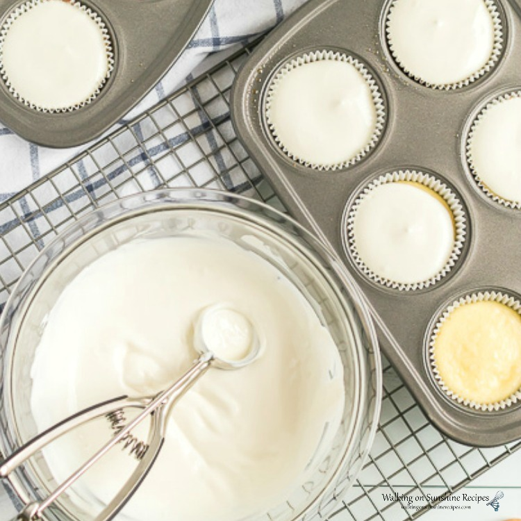 Add Sour Cream Topping to Baked Cheesecake Cupcakes from WOS