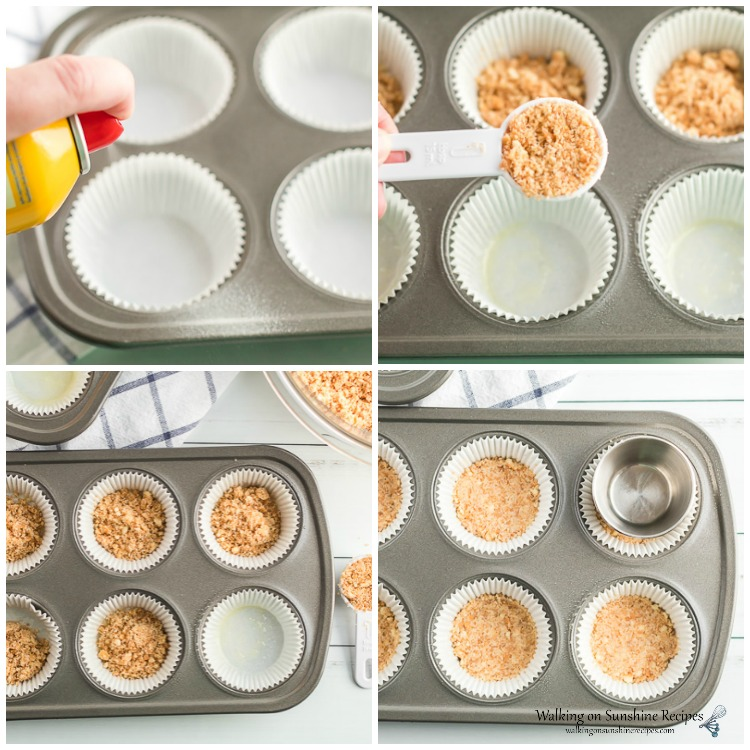 Adding Graham Cracker Crumbs to Muffin Pan for Cheesecake Cupcakes