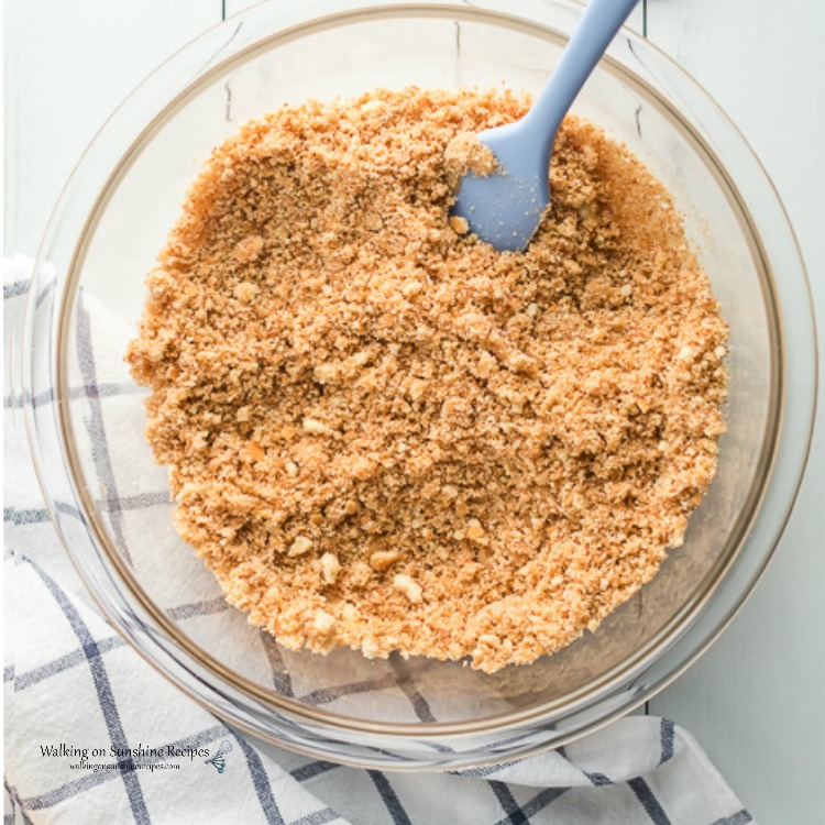 Mix Graham Cracker Crumbs with Melted Butter