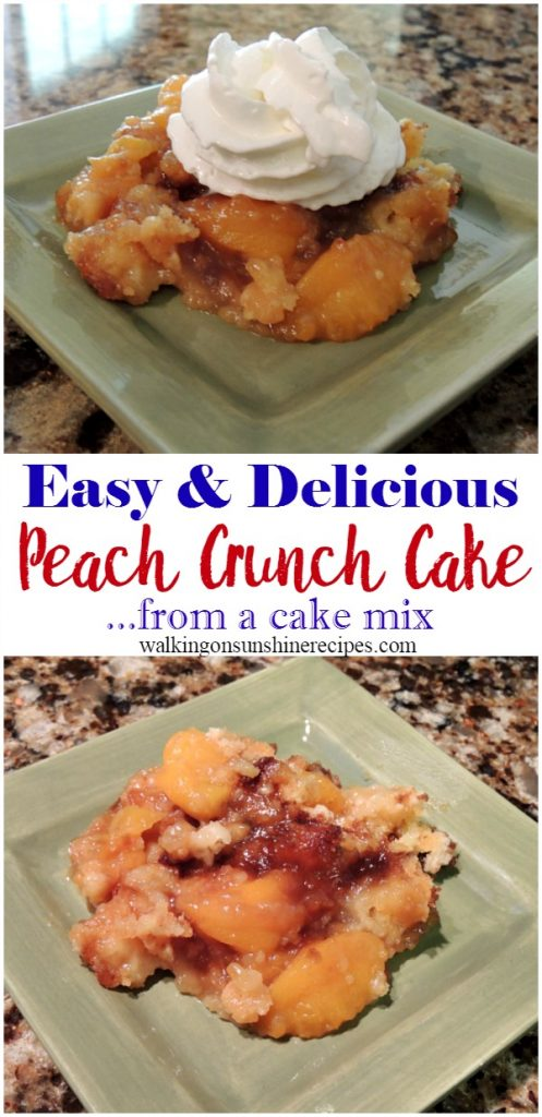 Peach Crunch Cake topped with whipped cream on green plate.