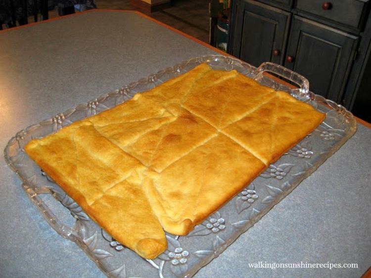 Bake crescent rolls for Fruit Tart.