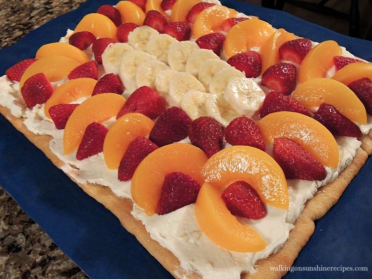 Peaches, Strawberries and Banana Crescent Rolls Fruit Tart.