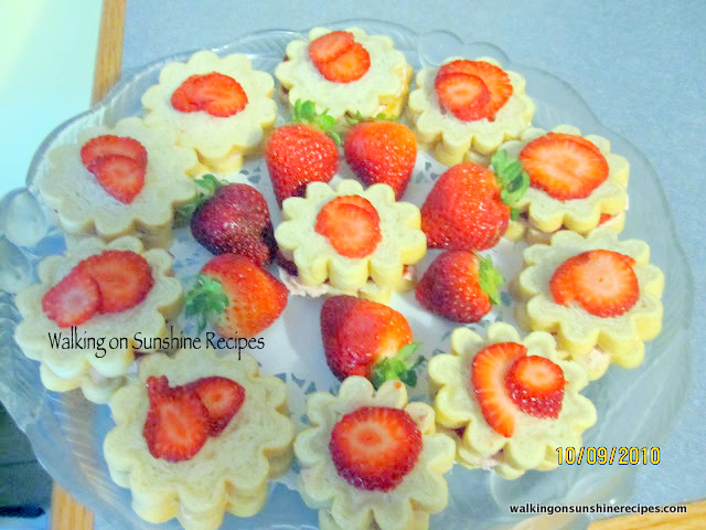 Strawberry Cream Cheese Tea Sandwiches made with Flower Shape Bread Forms from Walking on Sunshine Recipes.