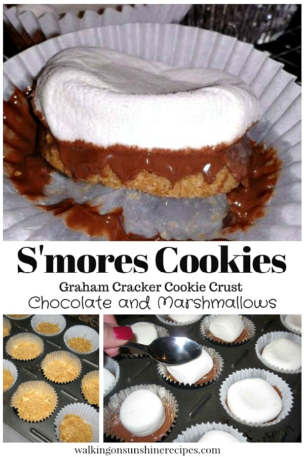 S'mores Cookies with Graham Cracker Cookie Crust from Walking on Sunshine Recipes