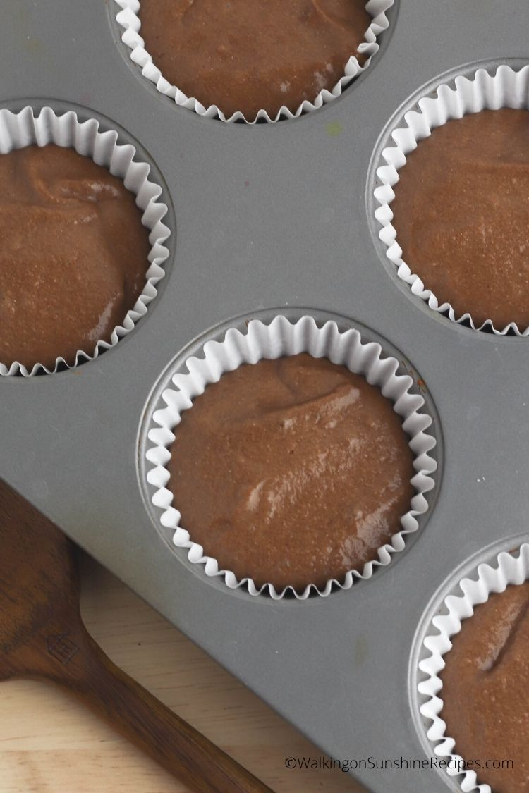 cupcake batter in muffin pans.