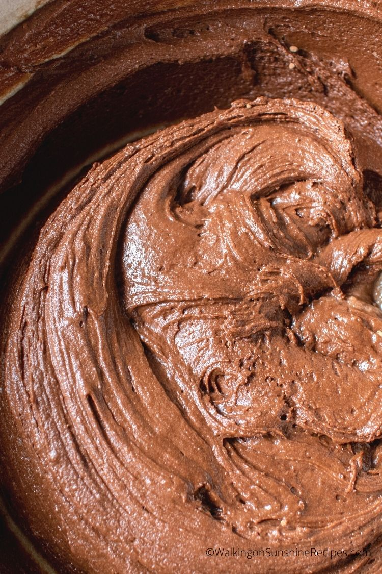 chocolate cake mix batter in bowl.