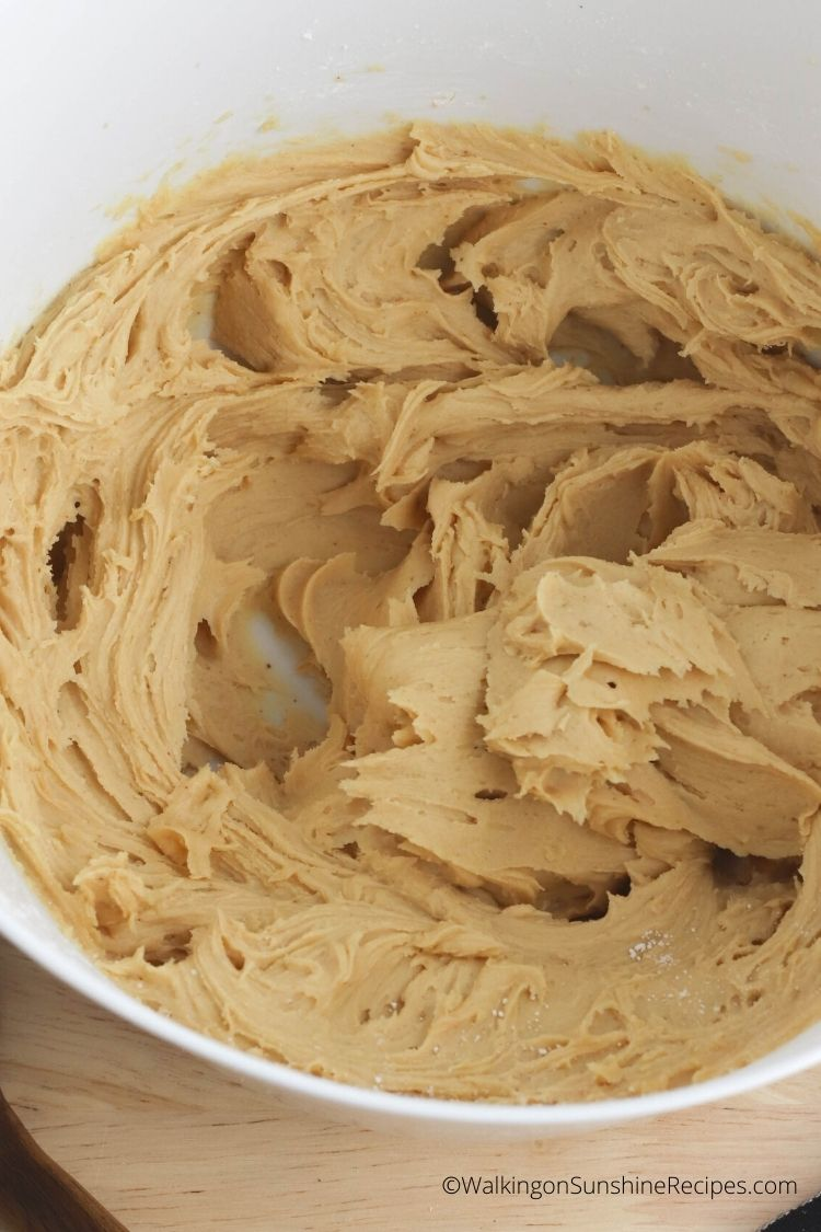 Homemade peanut butter frosting in bowl.