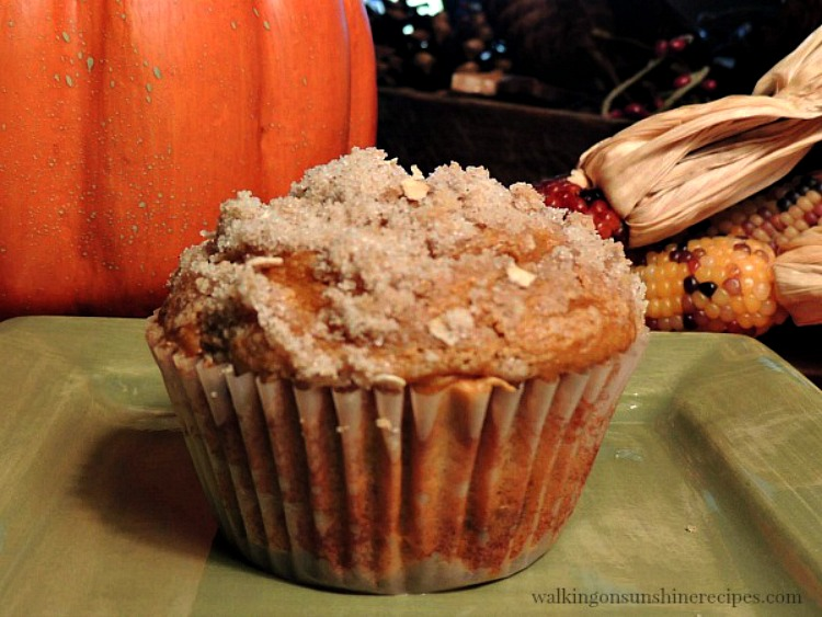 Pumpkin Muffin with Crumb Topping on Green Plate