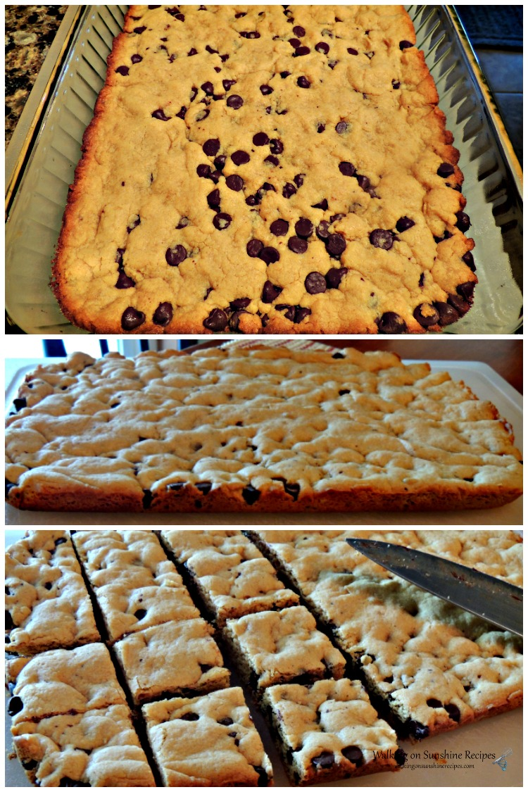 Peanut Butter Chocolate Chip Bars baked and ready to slice.