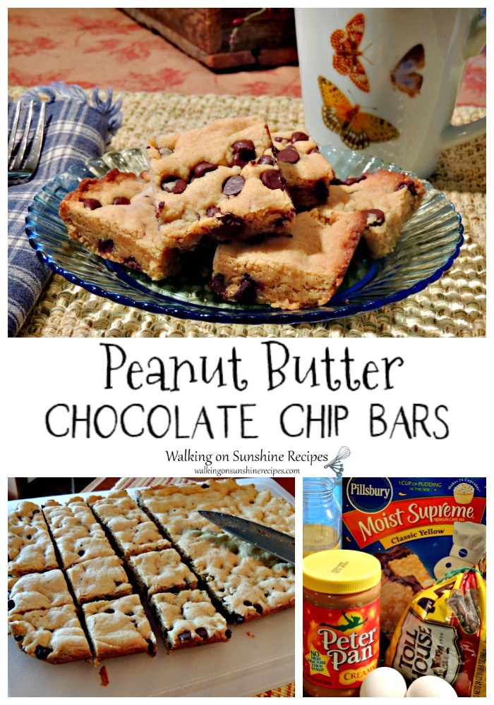 Peanut Butter Chocolate Chip Bars with Yellow Cake Mix.