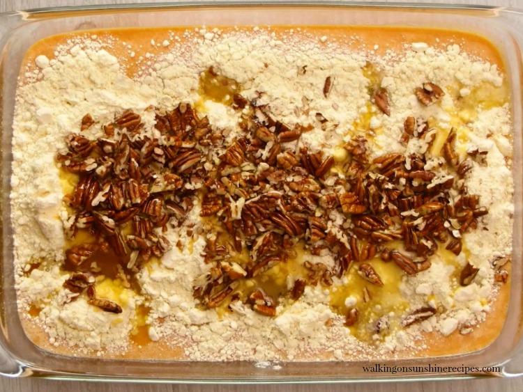 Pumpkin Crunch Cake in baking pan before baking from Walking on Sunshine Recipes