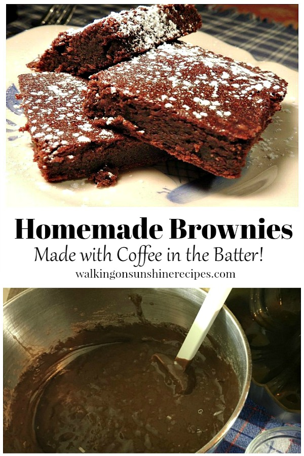Homemade Brownies Made with Coffee in the Batter from Walking on Sunshine Recipes