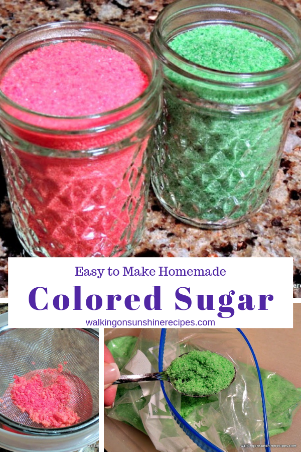 Homemade Colored Sugar isn't difficult to make and will help you save money. Perfect for all your baking needs all year long!
