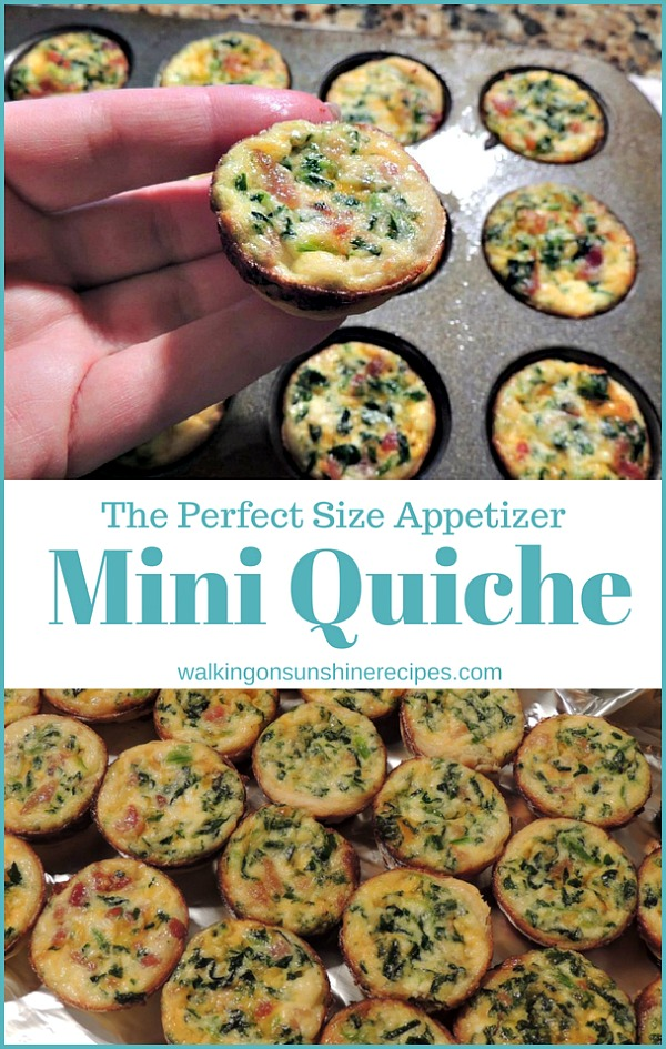 Mini Spinach and Cheese Quiche the perfect size Appetizer from Walking on Sunshine Recipes