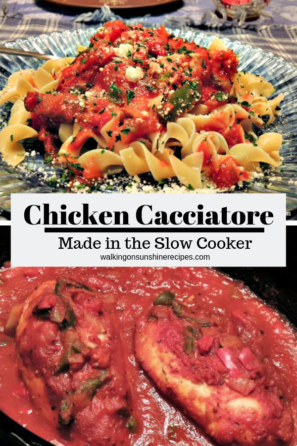 Chicken Cacciatore Skinny Taste Style is a healthy version of the traditional recipe cooked in the slow cooker till the chicken and vegetables are tender.
