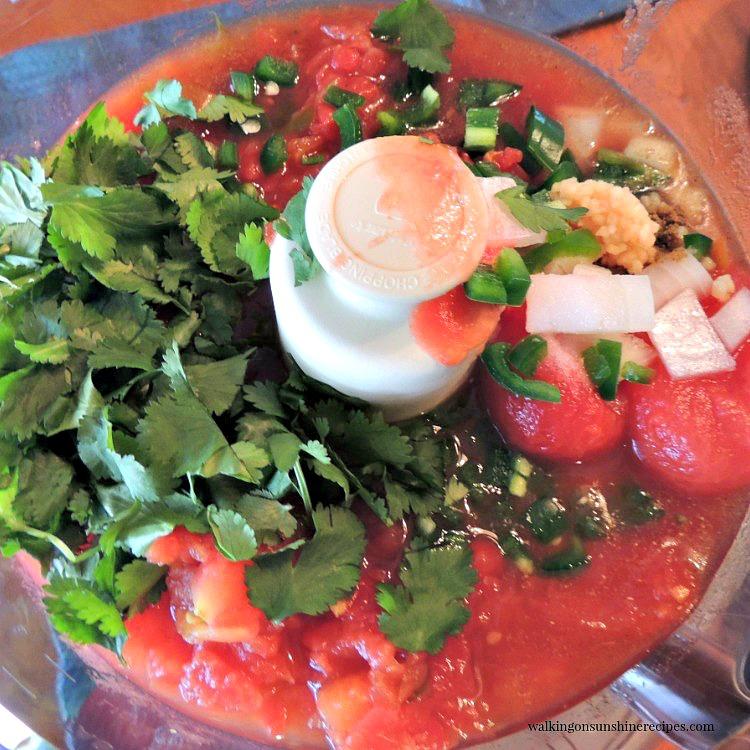 Homemade Salsa Ingredients in Food Processor