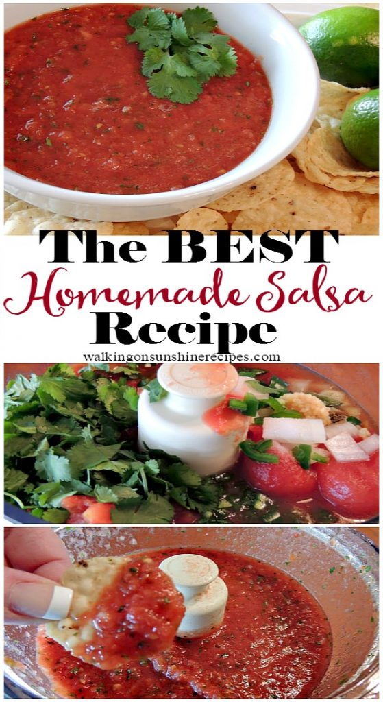 You'll never buy a jar of salsa again after you've made this homemade salsa recipe from Walking on Sunshine Recipes.