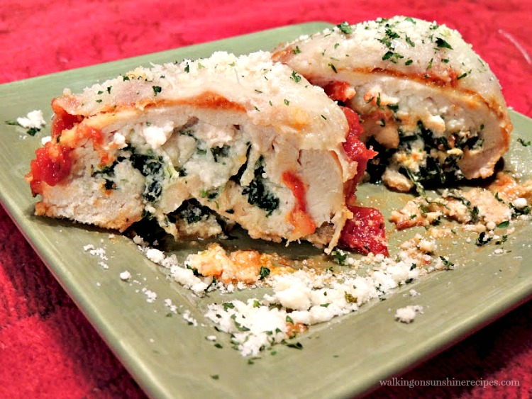 Chicken Stuffed with Ricotta Cheese and Spinach with Marinara Sauce