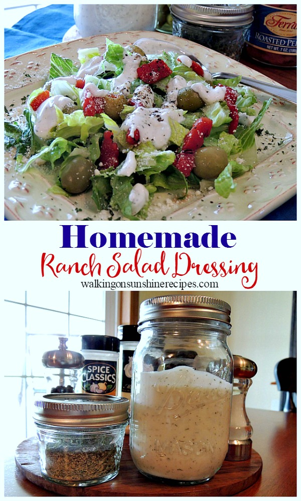 Homemade Ranch Salad Dressing over lettuce greens.