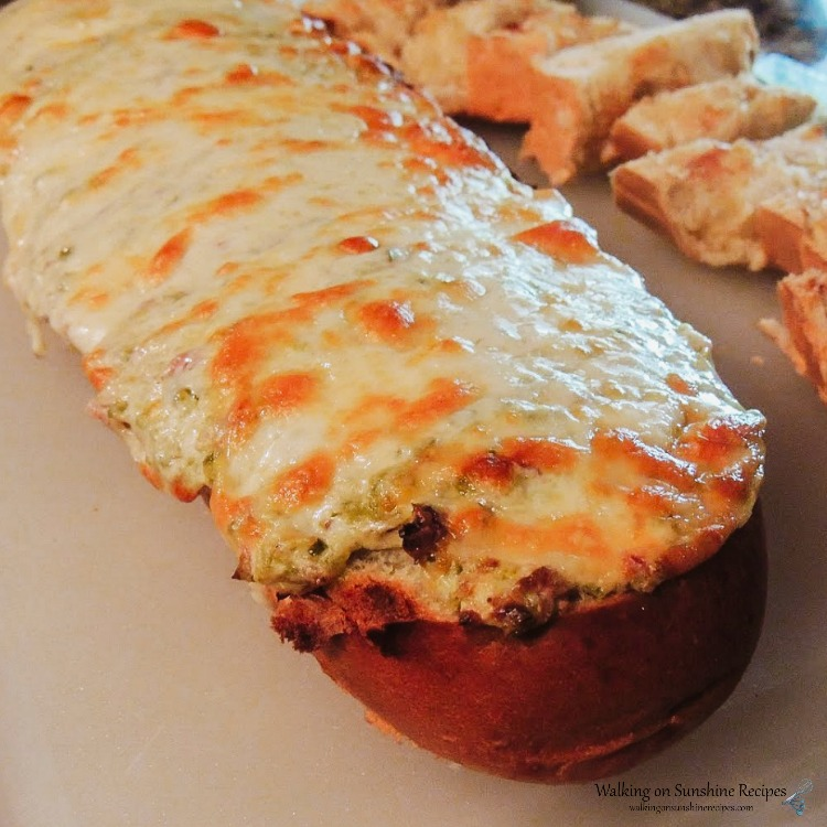 Jalapeno Bacon Garlic Bread on cutting board.