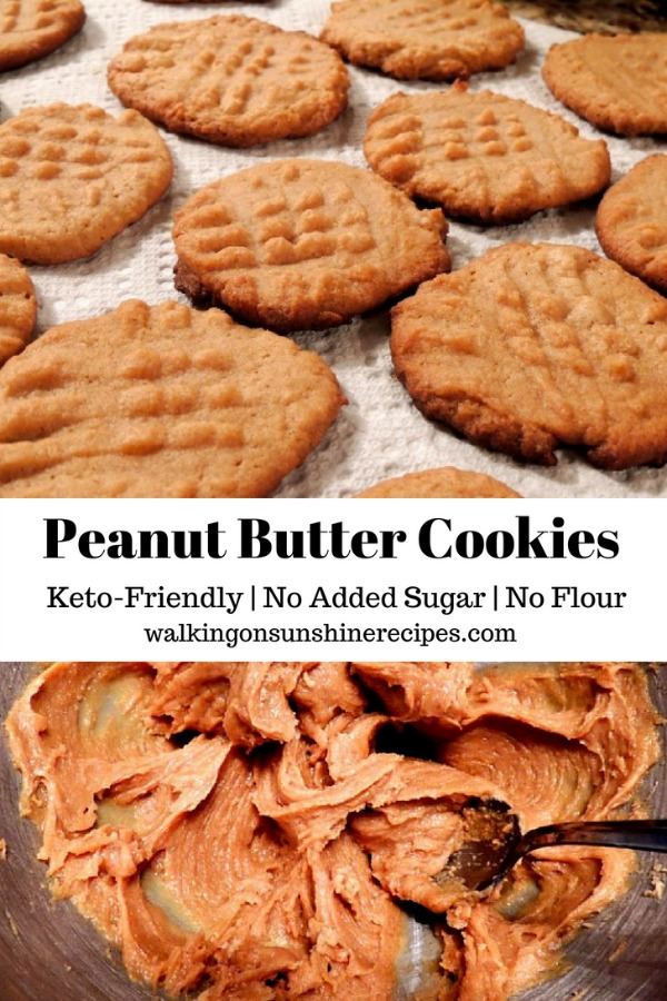 Sugarless and Flourless Peanut Butter Cookies from Walking on Sunshine Recipes