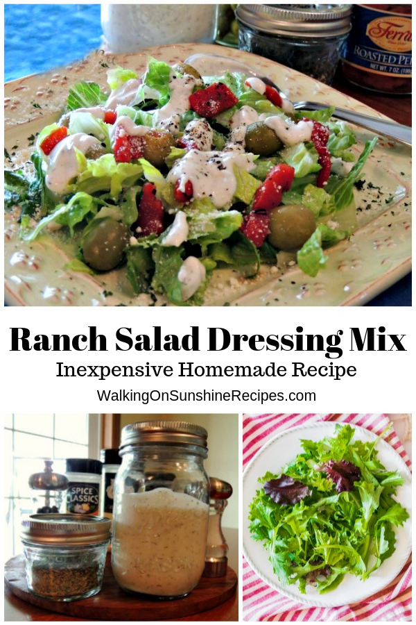 Homemade Ranch Salad Dressing over lettuce, olives, red pepper strips.
