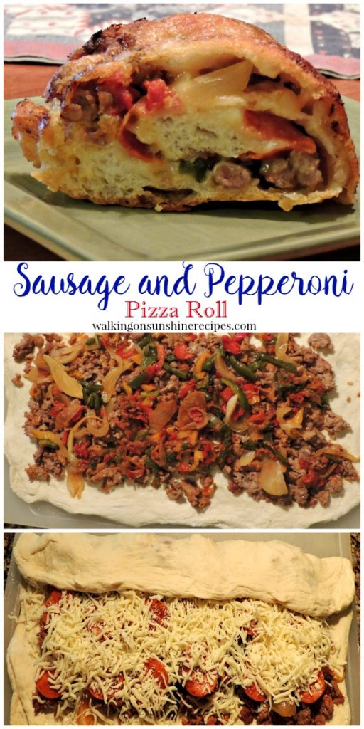 Sausage and Pepperoni Pizza Roll is a family favorite recipe from Walking on Sunshine Recipes.