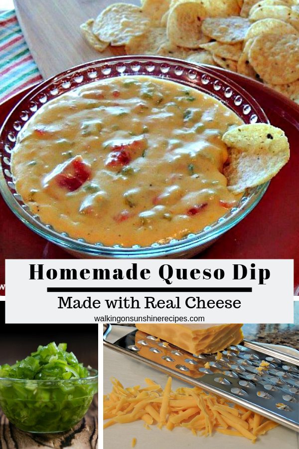 A delicious and easy recipe for Homemade Queso Dip with grated cheese and diced peppers.